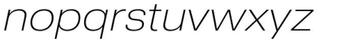Nuber Next Extra Light Wide Italic Font LOWERCASE