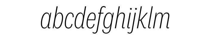 National 2 Condensed Extralight Italic Font LOWERCASE
