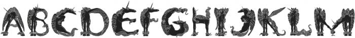 Pegacorn Initials Filled otf (400) Font UPPERCASE