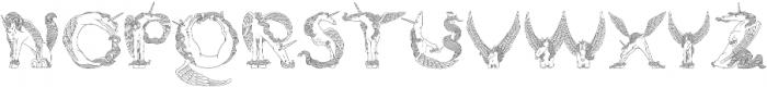 Pegacorn Initials Line otf (400) Font LOWERCASE