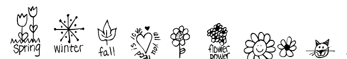 Pea Dalovely Damanda Doodles Font UPPERCASE