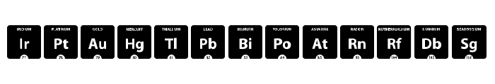 Periodic Table of Elements Font LOWERCASE