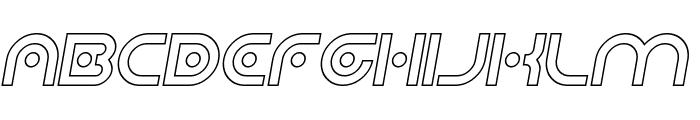 Planetary Orbiter Outline Italic Font UPPERCASE