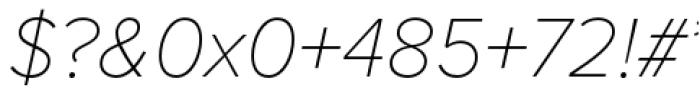 Proxima Nova Thin Italic Font OTHER CHARS