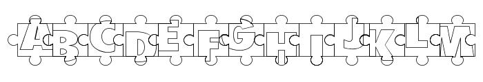Puzzle Pieces Outline Font UPPERCASE