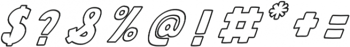 QUIRKY Outline Italic otf (400) Font OTHER CHARS