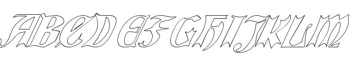 QuaelGothicHollowItalics Font UPPERCASE
