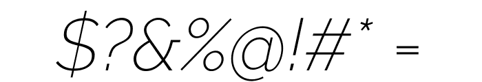 Raleway ExtraLight Italic Font OTHER CHARS