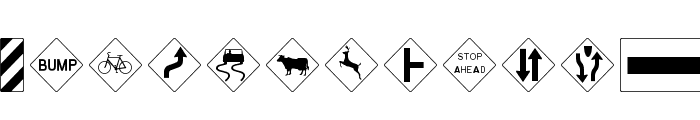 RoadWarningSign Font LOWERCASE