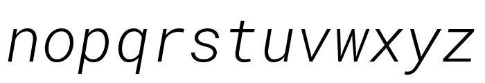Roboto Mono Light Italic Font LOWERCASE