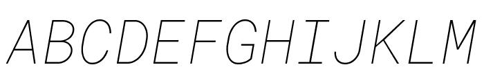 Roboto Mono Thin Italic Font UPPERCASE
