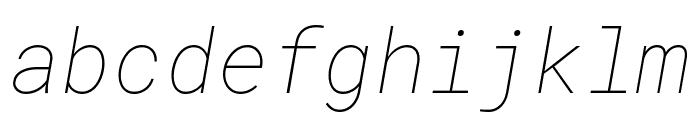 Roboto Mono Thin Italic Font LOWERCASE