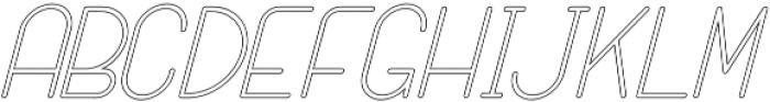 SANSI Outline Italic otf (400) Font LOWERCASE