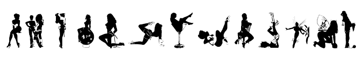 Sexy Silouette Stencils Font LOWERCASE