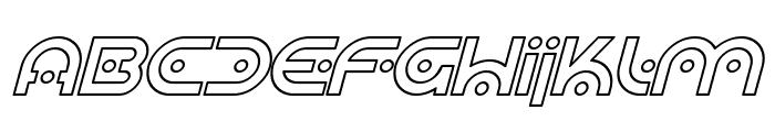 SF Planetary Orbiter Outline Italic Font UPPERCASE