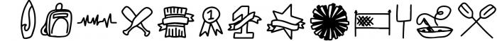 SPORTSBATS - Sporty Dingbats & Catchwords Font UPPERCASE