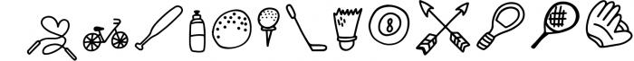 SPORTSBATS - Sporty Dingbats & Catchwords Font LOWERCASE