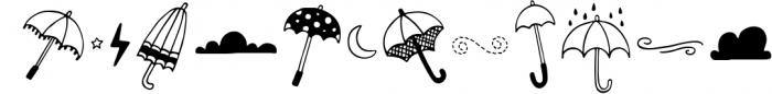 Spring Showers Font and Doodles Font UPPERCASE