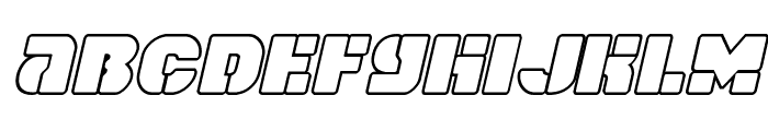 Space Cruiser Outline Italic Font LOWERCASE