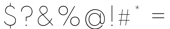 Spartan Thin Font OTHER CHARS