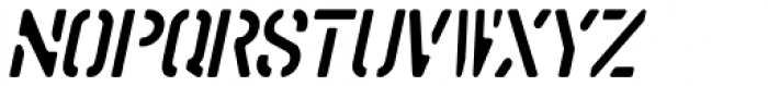 Stencil Punch Oblique JNL Font UPPERCASE