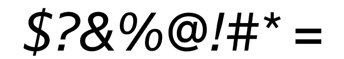 SuisseSign RegularItalic WebXL Font OTHER CHARS