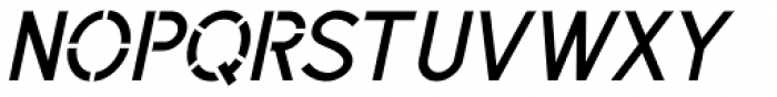 Sussex Semi Stencil JNL Oblique Font UPPERCASE