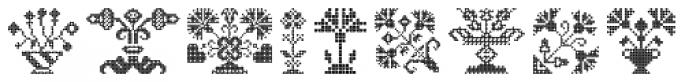 Swiss Folk Ornaments Floral Font UPPERCASE
