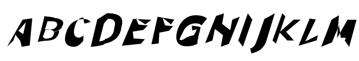 Through The Black Wide Italic Font UPPERCASE