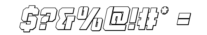 Thunder Trooper Outline Italic Font OTHER CHARS