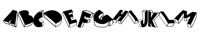 threed filled Font UPPERCASE
