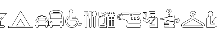 Travelcons Outline Font UPPERCASE