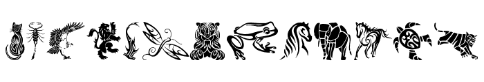 Tribal Animals Tattoo Designs Font UPPERCASE