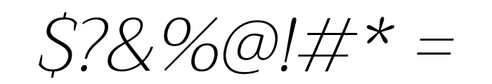 Trirong ExtraLight Italic Font OTHER CHARS