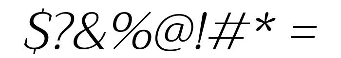 Trirong Light Italic Font OTHER CHARS