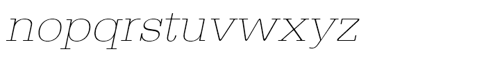 Typewriter Extra Light Extra Wide Oblique Font LOWERCASE