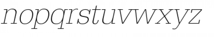 URW Egyptienne Narrow Extra Light Oblique Font LOWERCASE