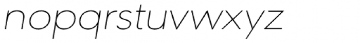URW Geometric Extended Thin Oblique Font LOWERCASE