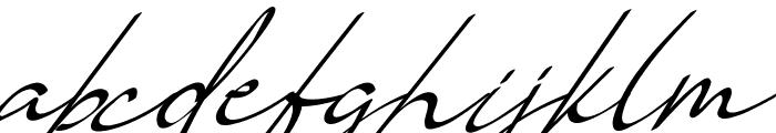 Vanilla Personal Slant Font LOWERCASE