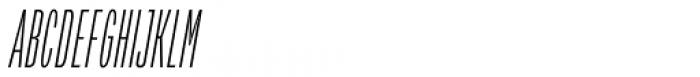 Verbatim Condensed Thin Oblique Font UPPERCASE