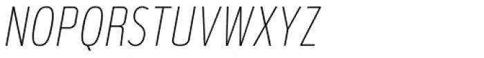 Verbatim Narrow Thin Oblique Font UPPERCASE