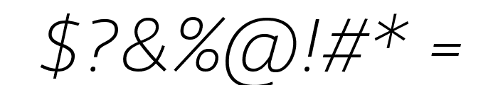 Agile ExtralightItalic Font OTHER CHARS