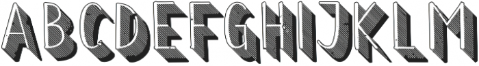 Wilhemina striped 3d grungy out otf (400) Font UPPERCASE