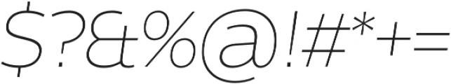 Without Alt Sans Extralight Italic otf (200) Font OTHER CHARS