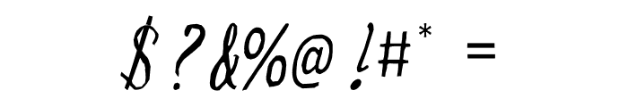 Wonky Printed Italic Font OTHER CHARS