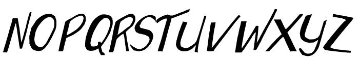 Wonky Printed Italic Font UPPERCASE
