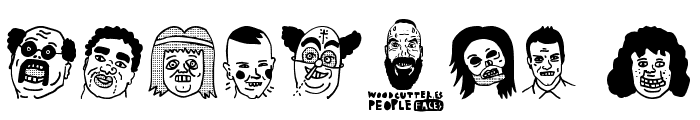 woodcutter people faces Font OTHER CHARS