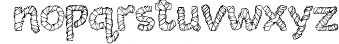 Wrapped in ribbon sketch font Font LOWERCASE