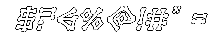 xBONES Outline Italic Font OTHER CHARS