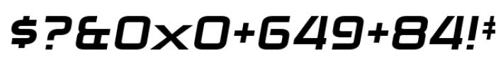 Zekton Extended Heavy Italic Font OTHER CHARS